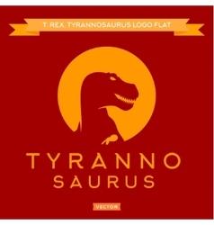 Dinosaur t-rex silhouette against the sun with vector
