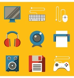 Flat icon set Computer vector image vector image
