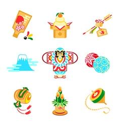 Japanese New Year symbols vector image vector image