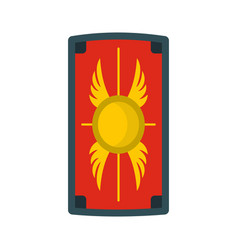 Shield with ornament icon flat style vector