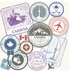 canada travel stamps set - toronto journey vector image