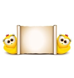 Easter card design template Two funny chicken vector image vector image