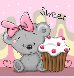 greeting card teddy bear with cake vector image