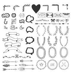 Hand drawn vintage romantic elements vector image