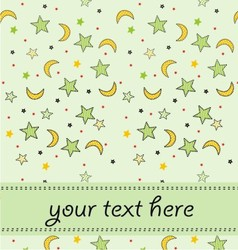 moon star with on invitation card vector image