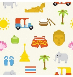Pixel Thailand seamless background vector image vector image