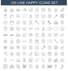100 happy icons vector
