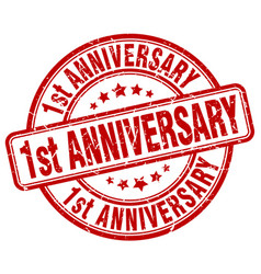 1st anniversary red grunge stamp vector