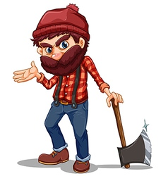 A lumberjack holding sharp axe vector