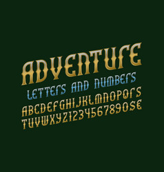 adventure alphabet with numbers and currency vector image