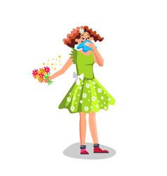 Allergy woman sneezing in handkerchief vector