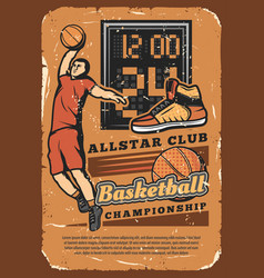 basketball club league championship grunge poster vector image