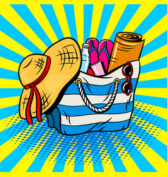Beach bag pop art vector