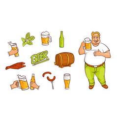 beer bottle mug glass drinking man appetrizers vector image