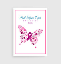 breast cancer awareness pink ribbon icon butterfly vector image