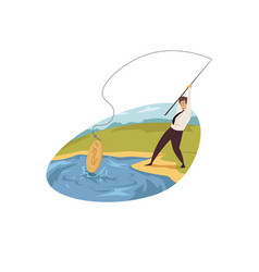 business profit income fishing concept vector image