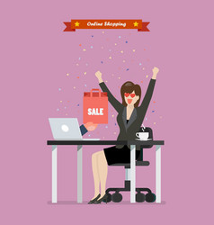 business woman shopping online on a laptop vector image