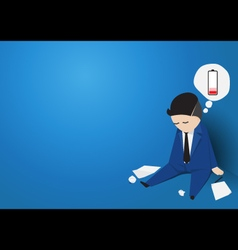 Businessman tired of working Low battery Flat vector image