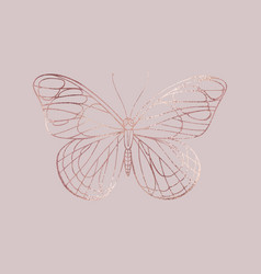 Buttefly rose gold texture elegant vector