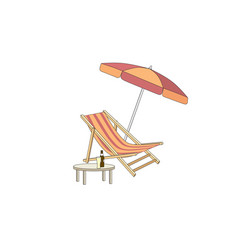 chaise longue table parasol deck chair summer vector image