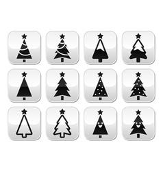 Christmas tree buttons set vector image