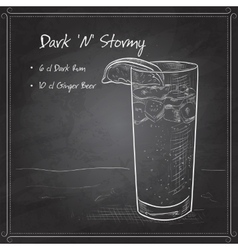 Cocktail Dark and Stormy on black board vector image