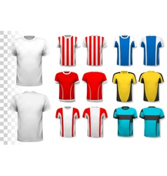 collection various soccer jerseys the t-shirt vector image