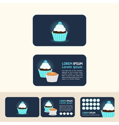 Cupcake blue color concept business cards discount vector