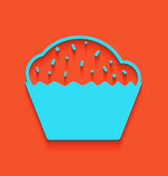 Cupcake sign whitish icon on brick wall vector