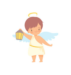 Cute boy angel with nimbus and wings standing vector