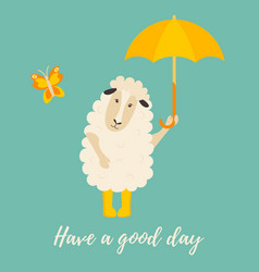 cute cartoon sheep with yellow umbrella vector image
