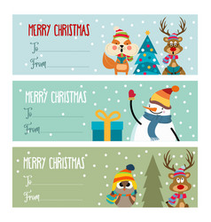 cute flat design christmas labels collection vector image