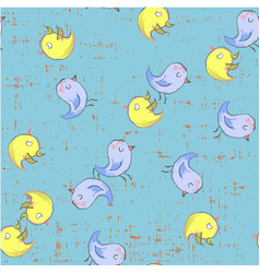 cute funny birds seamless pattern hand drawn in vector image