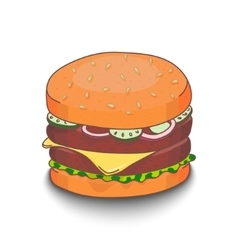 Cute hand-drawn cartoon style hamburger with vector
