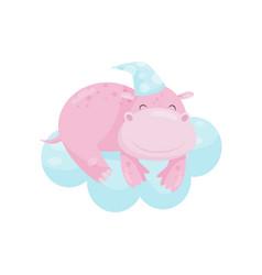Cute little hippo sleeping on a cloud lovely vector