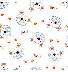cute teddy bears seamless pattern vector image