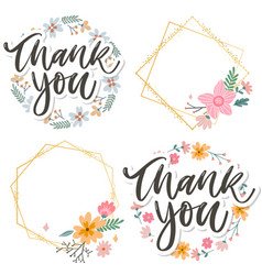 Cute thank you script card flowers letter text vector
