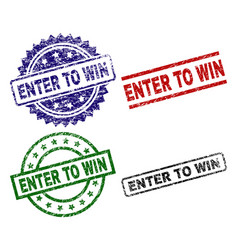 Damaged textured enter to win stamp seals vector