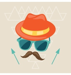 Design with hat glasses and mustache in hipster vector