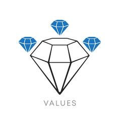 diamond icon minimal line design values vector image