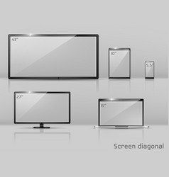different sizes screens - notebook vector image