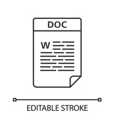 Doc file linear icon word processing document vector