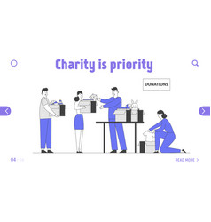 Donation and charity website landing page vector