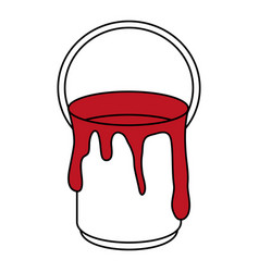Dripping red paint can icon image vector