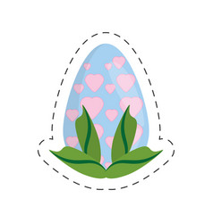 Easter egg heart decoration leaves - cut line vector