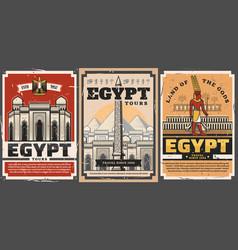 Egypt tourist tours ancient city travel landmarks vector