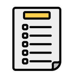 Exam paper icon in filled line style for any vector