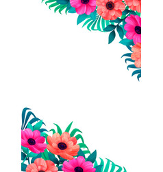 floral frame corner design beautiful wild garden vector image