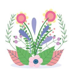 flowers arrangement leaves foliage herb wild vector image