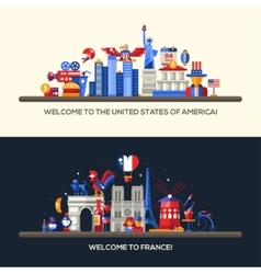 France USA travel banners set with famous French vector image